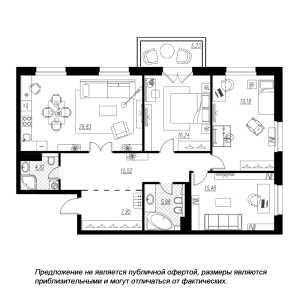 3 комн. квартира, 116 м², 5 этаж