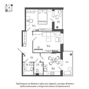 2 комн. квартира, 59 м², 1 этаж