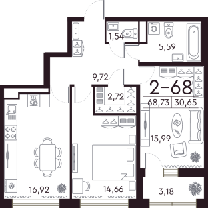 1 комн. квартира, 69 м², 5 этаж