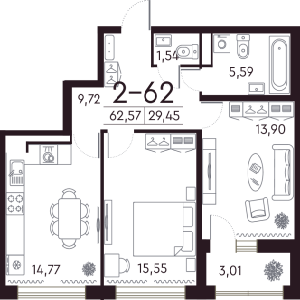 1 комн. квартира, 63 м², 7 этаж