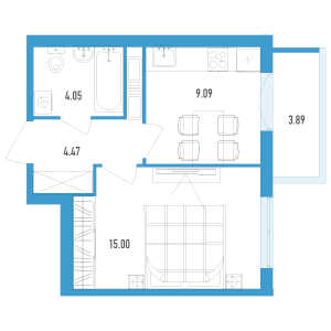 1 комн. квартира, 34 м², 3 этаж