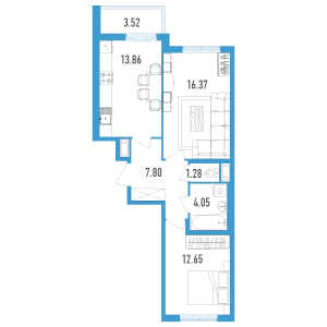 2 комн. квартира, 58 м², 3 этаж