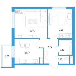 2 комн. квартира, 51 м², 7 этаж