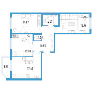 2 комн. квартира, 78 м², 2 этаж
