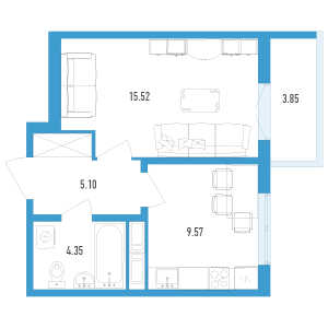 1 комн. квартира, 36 м², 12 этаж