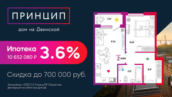 ЖК «Принцип» класса «комфорт +», метро Нарвская От 8,4 млн рублей