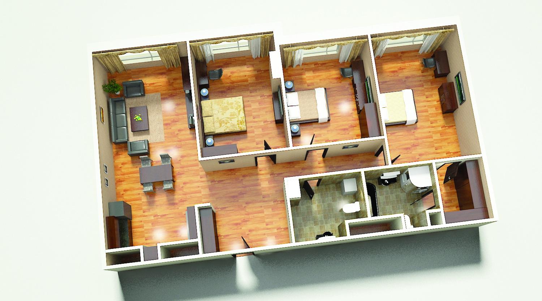 картинки комнатных домов вдавленный фасад